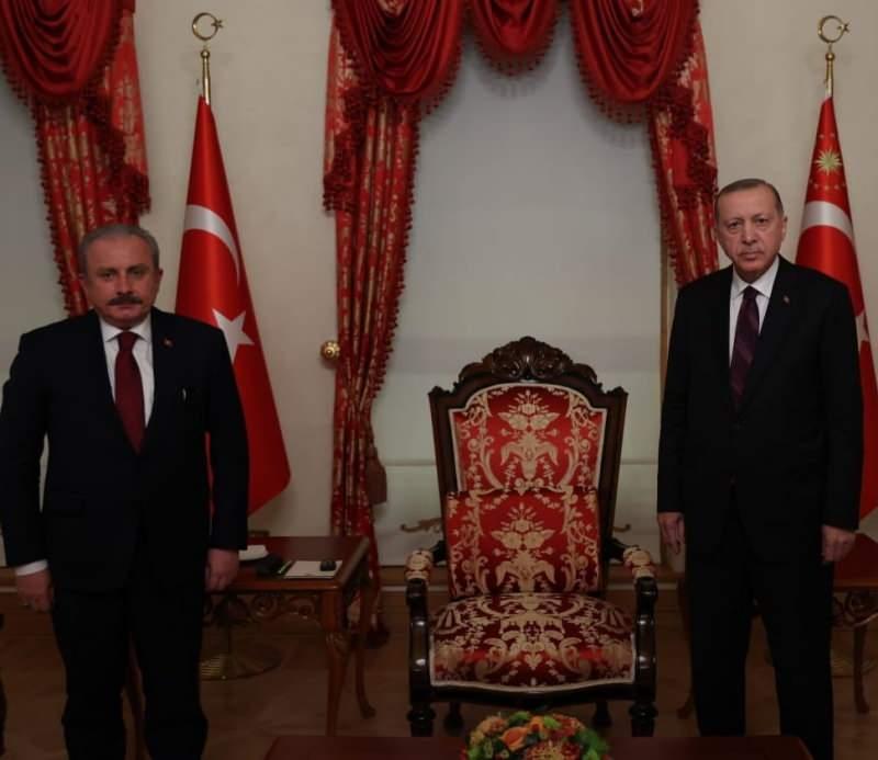 Cumhurbaşkanı Recep Tayyip Erdoğan ve TBMM Başkanı Mustafa Şentop