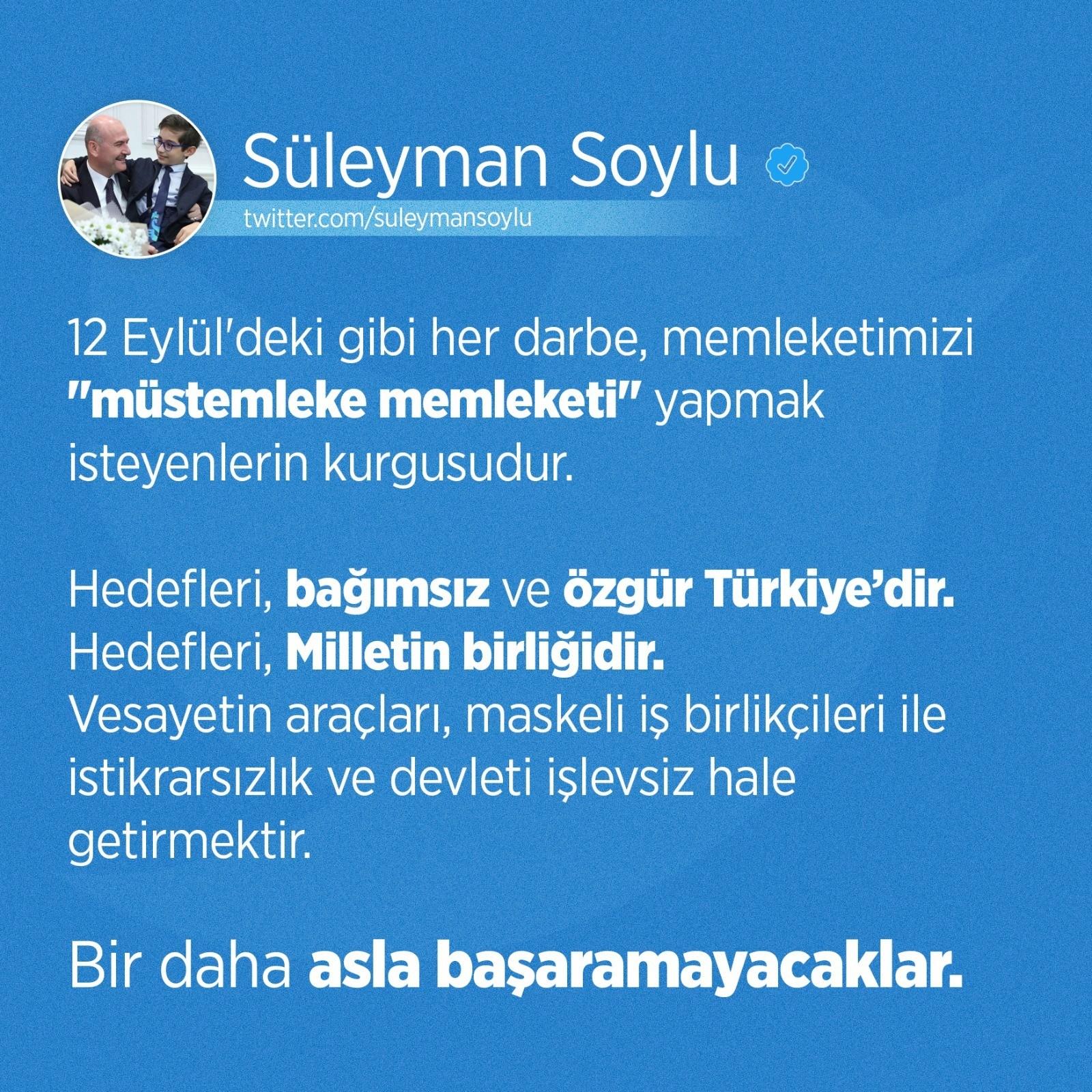 Bakan Süleyman Soylu'dan 12 Eylül mesajı